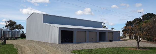 David Crawford's super-strong Grant Sheds farm shed showing the lean-to side which houses smaller farm and family vehicles.