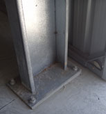 An example of the added value you get with a 'Grant' shed. Good, strong welded base plates and 4 x 24mm footings bolts, where as many others use only 2 much smaller footings bolts and often just a simple non-welded angle bracket to bolt columns to concrete.